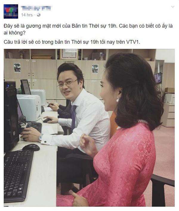 Một tấm hình trước giờ lên sóng của BTV Khánh Trangđược VTVđăng tải trên fanpage.