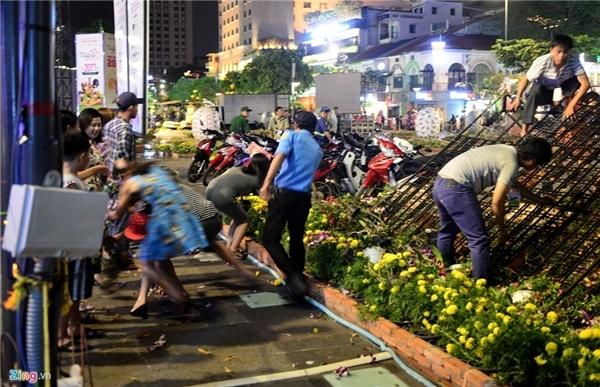 Vào ngày đườnghoa Nguyễn Huệ dọndẹpcây cảnh,không ít ngừi dân đã lao vào giành giật, ôm các chậu hoa mang về. (Ảnh: Zing)
