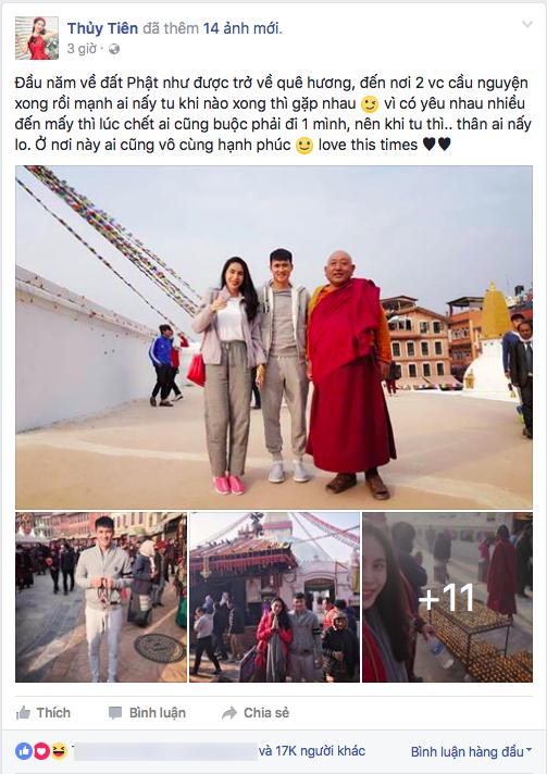 Hình ảnh vợ chồng Thủy Tiên - Công Vinh trong chuyến xuất hành đầu năm về đất Phật được cô chia sẻ trên trang cá nhân. - Tin sao Viet - Tin tuc sao Viet - Scandal sao Viet - Tin tuc cua Sao - Tin cua Sao