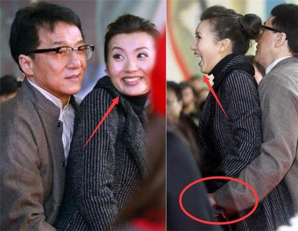 Nữ diễn viên Trần Hảo tỏ ra ngạc nhiên và có phần bối rối khi bị Thành Long bất ngờ ôm chặt từ đằng sau.