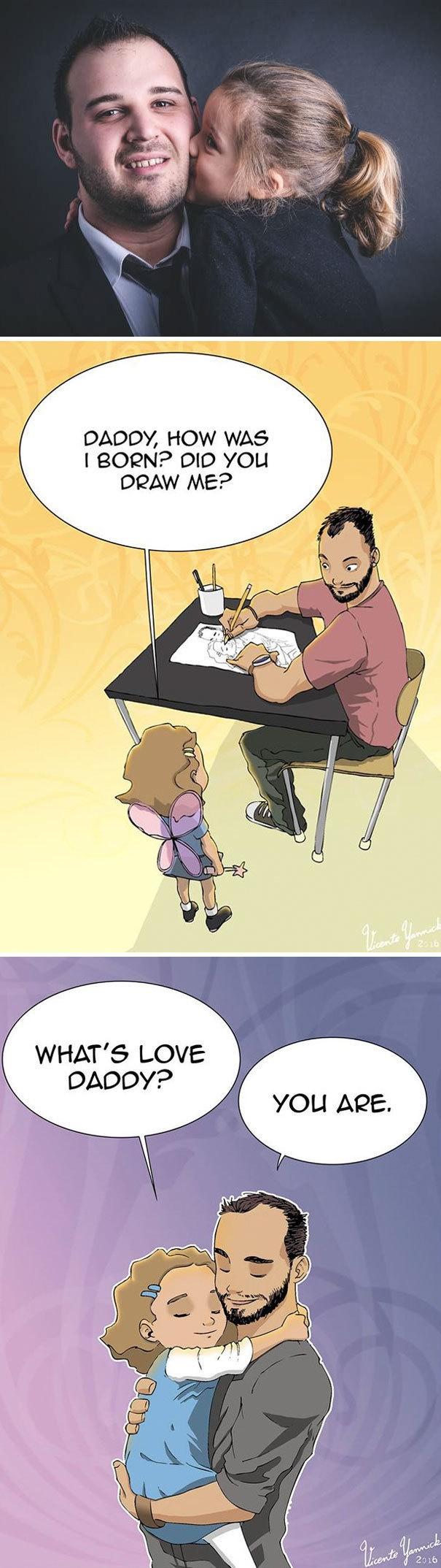 """Và đây là cuộc sống """"gà trống nuôi con"""" của một ông bố họa sĩ truyện tranh."""