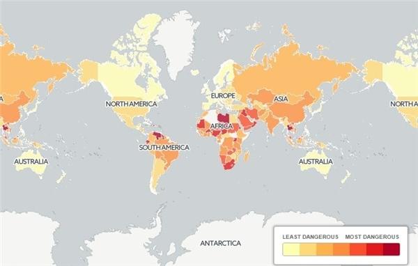 Bản đồ phản ánh tai nạn giao thông trên thế giới, màu càng đậm thì càng nguy hiểm.