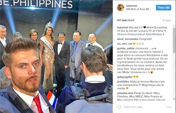 Vừa qua, Matthieu Declercq đã dành thời gian sang tận Philippines để cổ vũ cho bạn gái. Ngay cả khi bạn gái đăng quang, chàng bác sĩ 25 tuổi vẫn chỉ dám đứng nhìn và chụp ảnh từ xa để tránh những ồn ào, thị phi, tuân thủ đúng quy định nghiêm ngặt của tổ chức Hoa hậu Pháp.