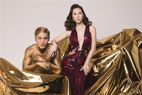Hoa hậu Thu Hoài kiêu sa với sắc vàng ánh kim rực rỡ