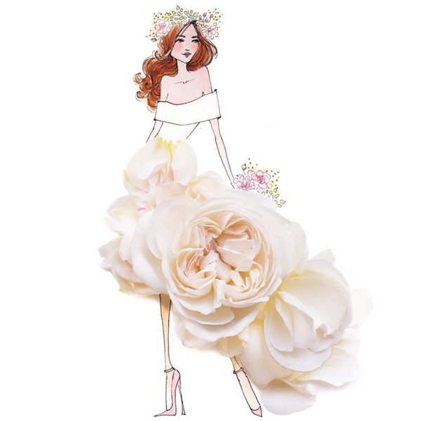 Cô thậm chí thiết kế cả váy cưới theo mùa với hoa tươi màu trắng.