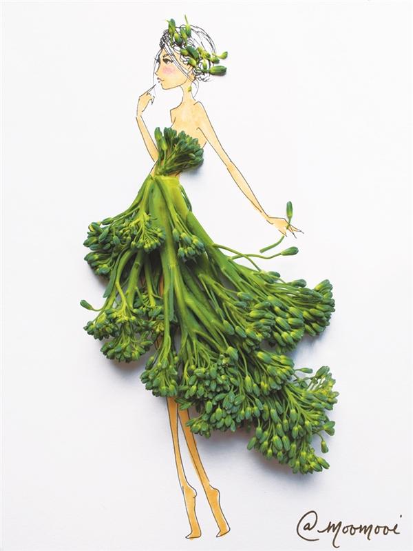 Không chỉ sử dụng hoa cỏ,Meredith Wing cũng sáng tạo khá linh hoạt với các loại rau củ khác nhau.