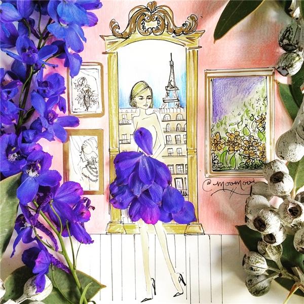"""Ngỡ ngàng loạt tranh vẽ váy áo làm bằng… hoa cỏ đẹp đến """"lóa mắt"""""""