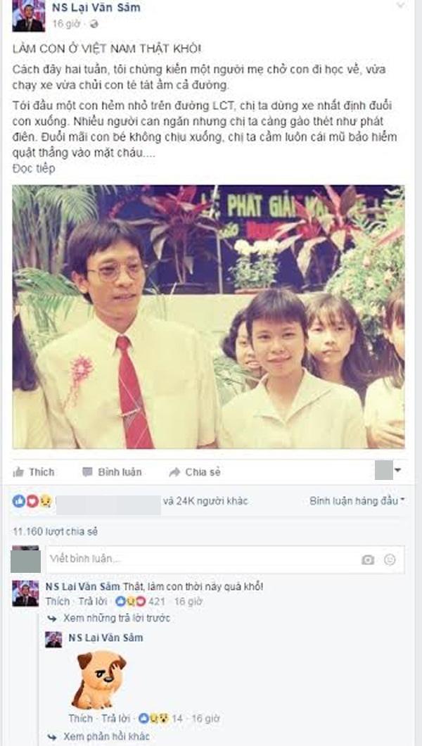 """Bài viết """"Làm con ở Việt Nam thật khó"""" từ nhận được hơn 11.000 lượt chia sẻ.(Ảnh chụp màn hình)"""
