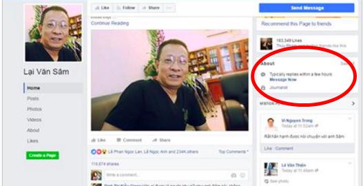 Giao diện trang Facebook giả mạo vào thời điểm VTV lên tiếng khẳng định giả mạo. Có thể thấy trang không hề có phần chú thích.(Ảnh chụp màn hình)
