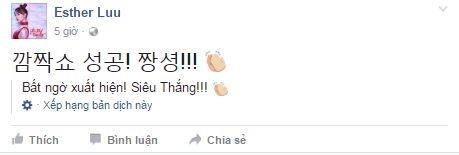"""Trên trang cá nhân, Hari Won cũng chia sẻ dòng trạng thái bằng tiếng Hàn Quốc, dí dỏm nói về khoảnh khắc cô chúc mừng sinh nhật ông xã ngay trên sân khấu,được tạm dịch rằng: """"Bất ngờ xuất hiện! Siêu thắng!!!"""", khiến nhiều người hâm mộ thích thú. - Tin sao Viet - Tin tuc sao Viet - Scandal sao Viet - Tin tuc cua Sao - Tin cua Sao"""