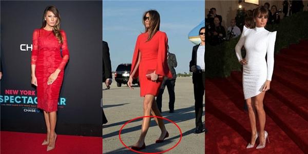 Cụ thể, đệ nhất phu nhân xứ sở cờ hoa diện bộ cánh màu đỏ của Givenchy kết hợp ví cầm tay Chanel đồng điệu. Tthay vào những đôi giày cao thường lệ, Melanialại mang giày bệt mũi tròn màu đỏ thẫm của Louboutin - thương hiệu giày yêu thích của cô.