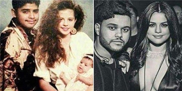 Sự trùng hợp khó tin giữa ảnh bố mẹ Selena thời trẻ (trái) với nữ ca sĩ và bạn trai hiện tại (phải).