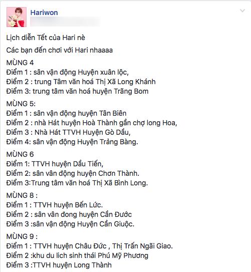 """Lịch chạy show Tết của Hari Won khiến nhiều khán giả """"choáng"""" vì mật độ dày đặc. - Tin sao Viet - Tin tuc sao Viet - Scandal sao Viet - Tin tuc cua Sao - Tin cua Sao"""