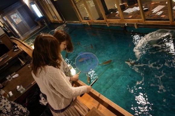 Bạn có thể bắt những chú cá và chế biến ngay tại quán.
