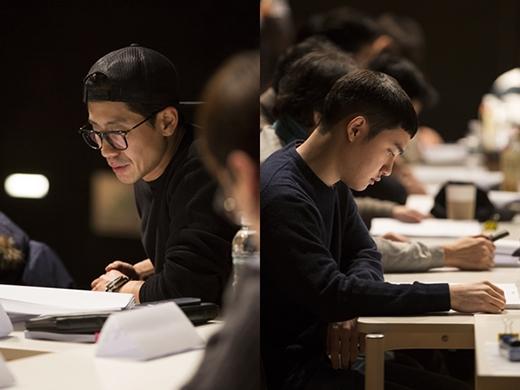 D.O. trong buổi đọc kịch bản phim Room 7.