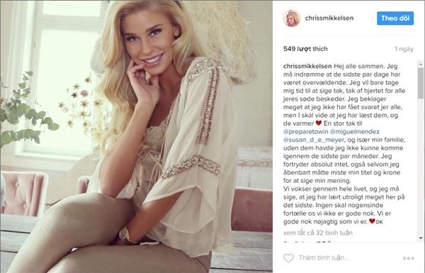Chia sẻ mới nhất trên Instagram củaHoa hậu Hoàn vũ Đan Mạch 2016 Christina Mikkelsen. Trước những chia sẻ của Christina Mikkelsen, tổ chức Hoa hậu Hoàn vũ Đan Mạch hiện chưa có phản hồi gì.