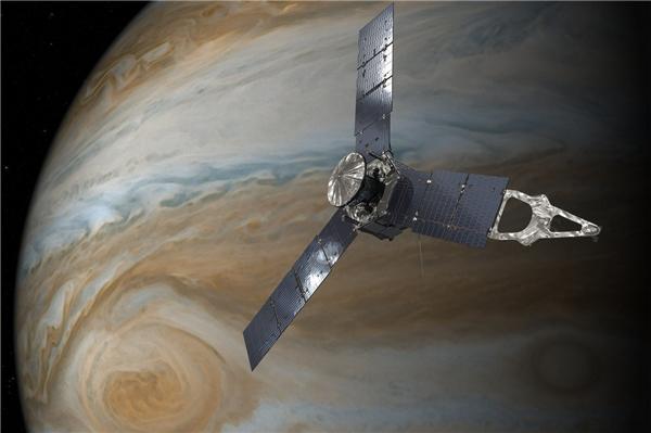 Cận cảnh một vùng xoáy khổng lề trên bề mặt Sao Mộc. Các chuyên gia nhận định, vòng xoáy này có thể di chuyển với vận tốc lên tới 617 km/h.