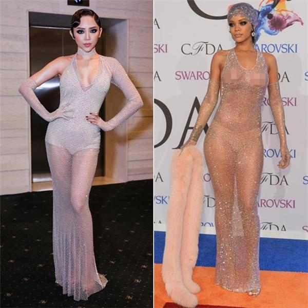 Vào đầu tháng 9/2016, trên một thảm đỏ, Tóc Tiên cũng bị so sánh với Rihanna khi diện bộ váy có màu sắc, chất liệu mỏng manh tương đồng. Nữ ca sĩ giữ im lặng trước nghi vấn bắt chước phong cách của Rihanna.