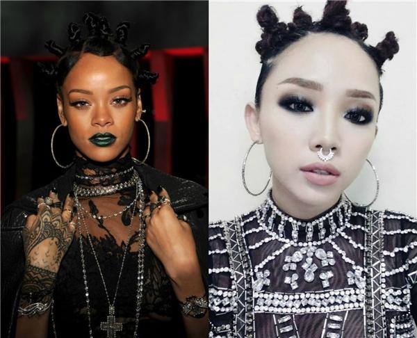 Mái tóc chiến binh hay cách đeo khuyên mũi, hoa tai to bản của Tóc Tiên cũng không ít lần bị mang ra so sánh với Rihanna.