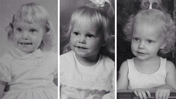 Ảnh chụp 3 thế hệ liên tiếp gồm bà, mẹ và cháu gái chẳng khác nào một cặp sinh ba.