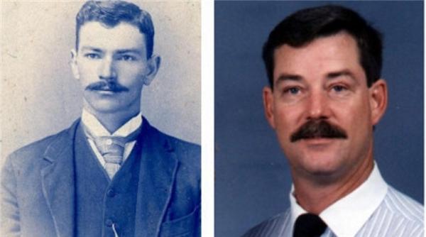 """Ông cụ Benjamin(trái)và John bị ngăn cách bởi 4 thế hệ nhưng vẫn trông như """"bản sao"""" của đối phương."""