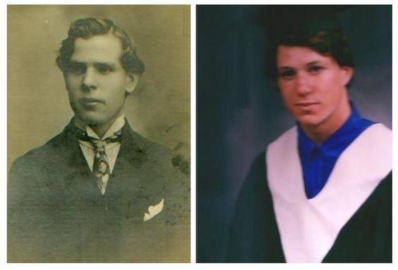 Jakob(trái)khi 21 tuổi và thế hệ cách ông 100 năm – Daniel năm 19 tuổi.