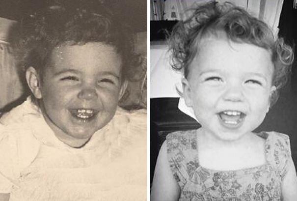Bà và cháu gái có điệu cười rộ lên y xì đúc vào lúc họ cùng lên 2 tuổi.