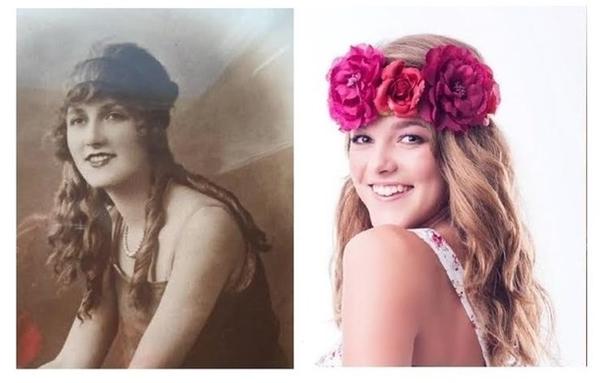 """Michelle(trái)và chắt ngoại Lucy cách nhau tới 87 năm trông vẫn giống nhau một cách """"đáng sợ""""."""