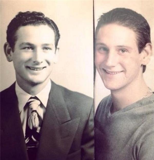 Hai ông cháu giống hệt nhau từ đôi mắt hai mí màu xanh, sống mũi cao thẳng tắp và nụ cười nửa miệng.