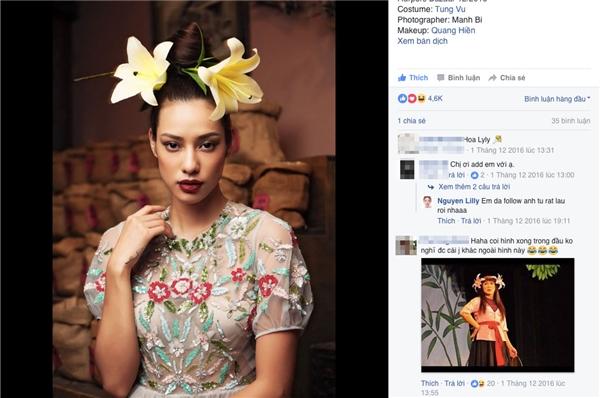 """Tạo hình của nữ người mẫu trở nên ấn tượng hơn với những bông hoa ly vàng ươm, ngọt lịm như ánh nắng ban mai. Ngay sau khi chia sẻ hình ảnh này trên trang cá nhân, người hâm mộ của Lilly Nguyễn đã phát hiện cô chính là """"bản sao"""" của """"cô Cám"""" Thành Lộc."""