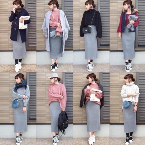 Miho.a.nico mix 8 set đồ khác nhau với cùng một chiếc chân váy.