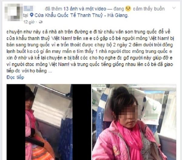 Dòng trạng thái chia sẻ thông tin về cô bé người Mông bị bắt cóc bán sang Trung Quốc. (Ảnh chụp màn hình).