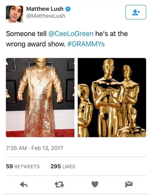"""Trên mạng xã hội, hình ảnh của CeeLo Green được chia sẻ rộng rãi với những lời bình luận cho là nam ca sĩ đã """"làm lố"""" hay đi nhầm vũ hội hóa trang."""