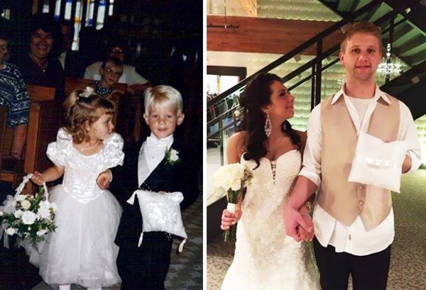Năm 1995, cặp đôi này tình cờ trở thành phù dâu và phù rể trong một lễ cưới. Đến 20 năm sau, họ cũng cùng nhau bước vào lễ đường vàđể nên duyên vợ chồng. (Ảnh: Internet)