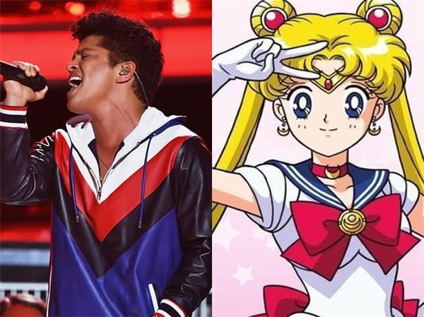 """Bruno Mars dường như đang bí mật """"cày ngày cày đêm"""" anime Thủy thủ Mặt Trăng hay sao ấy nhỉ?"""