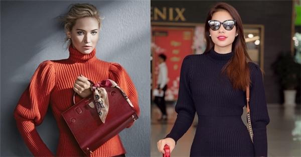 """Phạm Hương cá tính gây chú ý tại sân bay với loạt hàng hiệu đắt đỏ. Trong số đó, chiếc áo của Hoa hậu Hoàn vũ Việt Nam 2015 nhận được sự quan tâm đặc biệt khi """"đụng hàng"""" với ngôi sao danh tiếng thế giới Jennifer Lawrence."""
