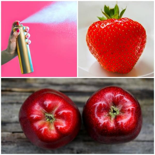 Xịt chất khử mùi để tạo độ sáng bóng cho trái cây. Đôi khi một số nhà tạo mẫu ảnh cho thức ăn còn dùng cả keo xịt tóc thay thế.