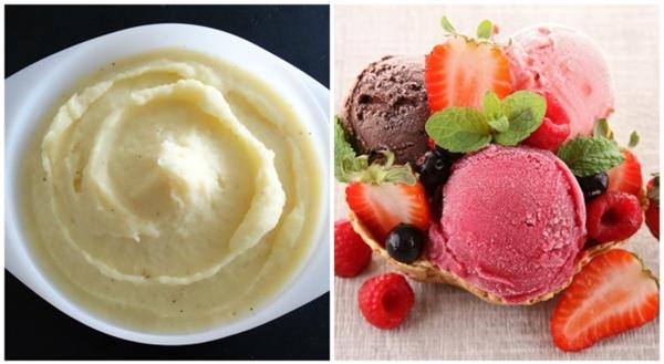 Dùng khoai tây nghiền để giả kem. Dưới ánh đèn nóng bức của studio, kem sẽ tan chảy rất nhanh, vì thế người ta sẽ thay thế kem thật bằng khoai tây nghiền pha màu. Hoặc họ sẽ giả kem bằng một hỗn hợp gồm bột, đường xay mịn, xi rô, mỡ và một số thành phần khác.