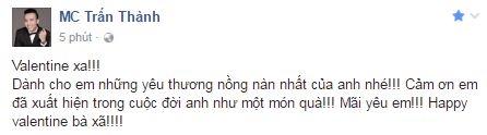 Dòng trạng thái đầy tình cảm Trấn Thành gửi đến Hari Won nhân ngày Lễ tình nhân. - Tin sao Viet - Tin tuc sao Viet - Scandal sao Viet - Tin tuc cua Sao - Tin cua Sao
