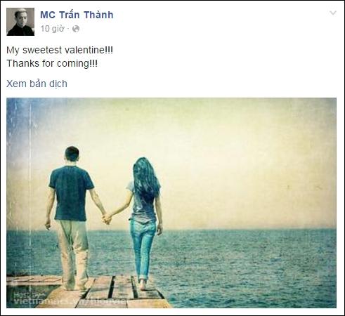 Vào ngày Lễ tình nhân đầu tiên của cặp đôi Trấn Thành - Hari Wonnăm ngoái, nam MC cũng chia sẻ dòng trạng thái đầy tình cảm cùng lời cảm ơn đến Hari. - Tin sao Viet - Tin tuc sao Viet - Scandal sao Viet - Tin tuc cua Sao - Tin cua Sao