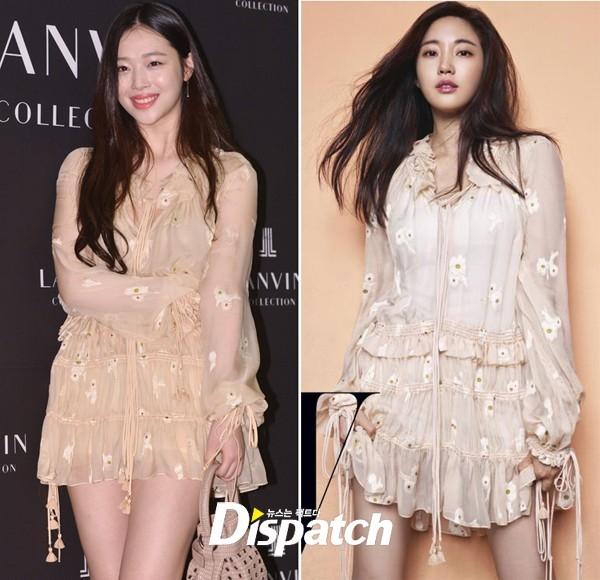 """Đặt lên """"bàn cân"""", Sulli và Kim Sa Rang đều có sức hút ngang bằng với bộ váy màu pastel ngọt ngào, họa tiết hoa nhỏ xinh điểm xuyết trên bề mặt chất liệu."""
