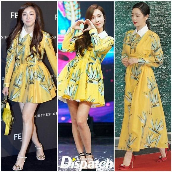 """Kim Yuna, Jessica và Hong Soo Ah cùng """"phải lòng"""" sắc vàng cùng họa tiết to bản. Trong đó, Hong Soo Ah thanh lịch với thiết kế dáng dài, 2 mĩ nhân còn lại gợi cảm, trẻ trung với trang phục ngắn trên gối."""