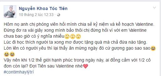 """Tóc Tiên cũng không hứng thú với ngày Valentine: """"Hôm nọ anh chị phóng viên hỏi mình chia sẻ kỷ niệm và kế hoạch Valentine. Đứng đơ ra vài giây xong mình bảo thôi chị đừng hỏi vì với em Valentine chưa bao giờ có ý nghĩa nhiều"""". - Tin sao Viet - Tin tuc sao Viet - Scandal sao Viet - Tin tuc cua Sao - Tin cua Sao"""