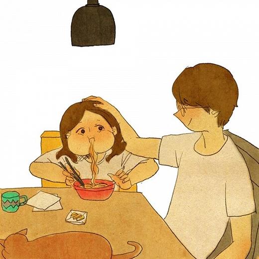"""""""Trong mắt người tình, bạn luôn là Tây Thi"""". Dù cho bạn có xấu xí hay có những tật xấu trong lúc ăn uống thì chàng trai của bạn luôn cảm thấy bạn hết sức đáng yêu và trao bạn ánh mắt dịu dàng, ấm áp."""