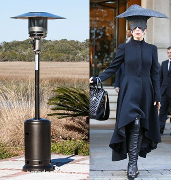 """Một bộ trang phục màu đen kết hợp mũ đội rộng vành được cho là """"lấy ý tưởng"""" từ cột đèn trên đường phố."""