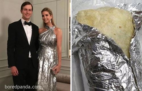 Nhìn xa, không khéo nhiều người lầm tưởng bộ váy chính là giấy bạc gói thức ăn vì có sự tương đồng rất lớn.
