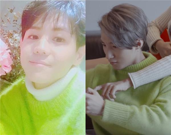 Yang Yoseob phối thêm sơ mi trắng bên trong khi diện sweater bên ngoài theo phong cách thư sinh đặc trưng. Nam ca sĩ vô cùng nổi bật, tươi trẻ trong ngày sinh nhật.
