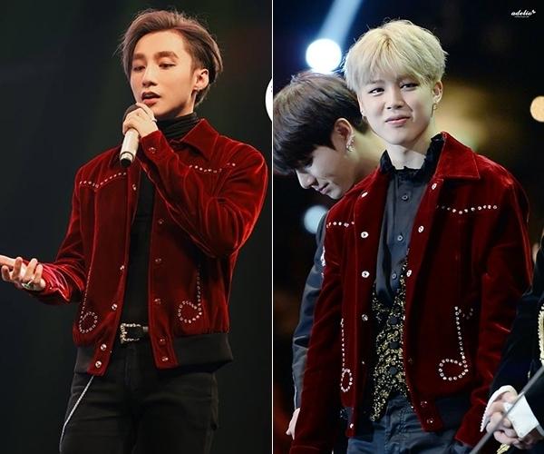 """Gần đây, Sơn Tùng cũng """"đụng hàng"""" với ca sĩ Ji Min BTS. Chiếc áo hình nốt nhạc này là một thiết kế của Saint Laurent nằm trong bộ sưu tập dành cho mùa mốt Thu - Đông 2016. So với mỹ nam Hàn Quốc, Sơn Tùng đâu hề kém cạnh bởi vẻ ngoài điển trai, trẻ trung."""
