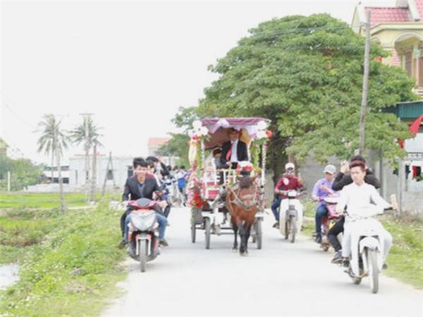"""Cỗ xe ngựa """"đưa nàng về dinh"""" trên đường quê. (Ảnh: NVCC)"""