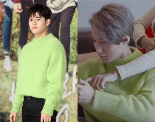 Kim Dong Jun trông trẻ ra đến vài tuổi khi cùng đọ gu với các đàn em trong chiếc áo màu xanh nữ tính, chất liệu len dạ giữ ấm khá tốt trong tiết trời lạnh của xứ sở kim chi.